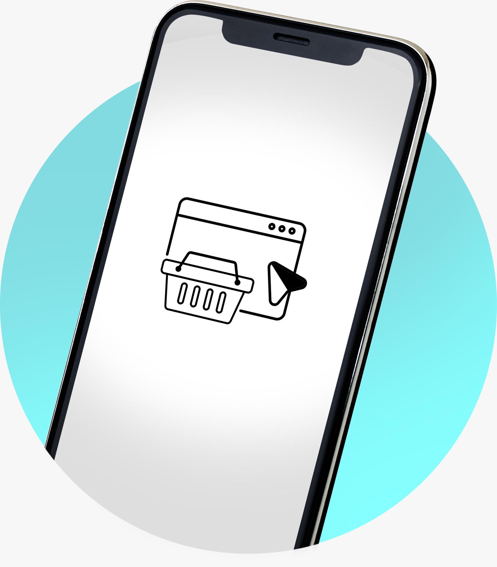 Imagem de celular com ícone de e-commerce